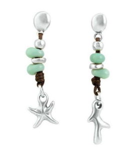 Sea star earrings with turquoise stones
